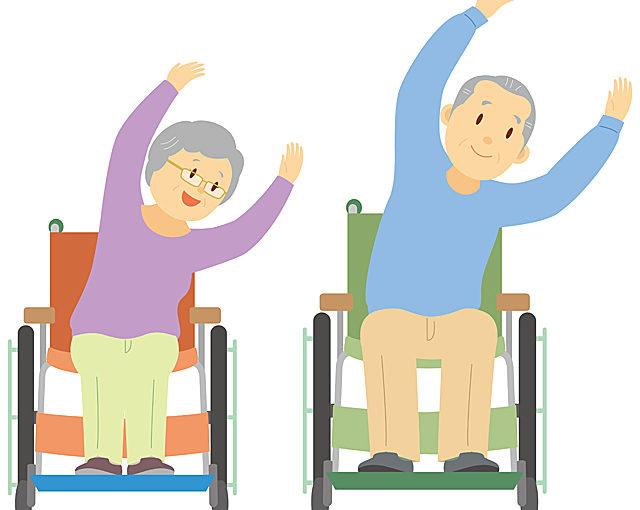 車椅子で体操する人